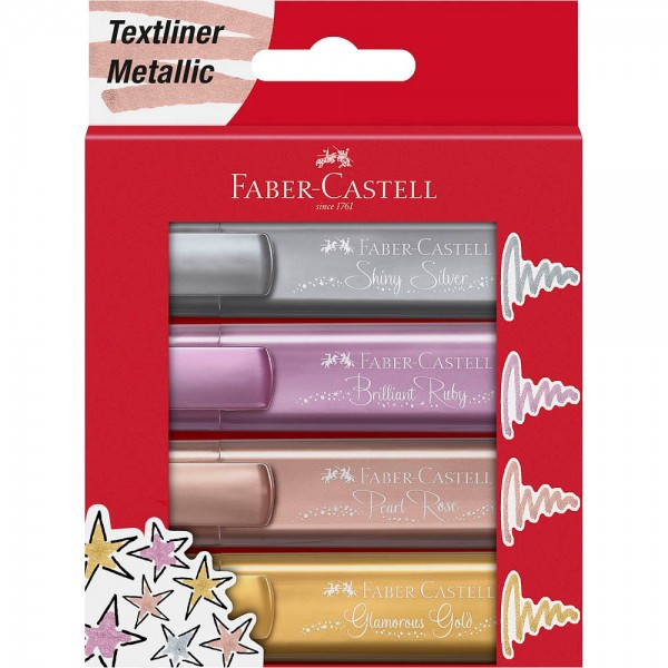 Faber-Castell Textmarker TL 46 metallic gold, silver, rose, ruby (4er Pack)