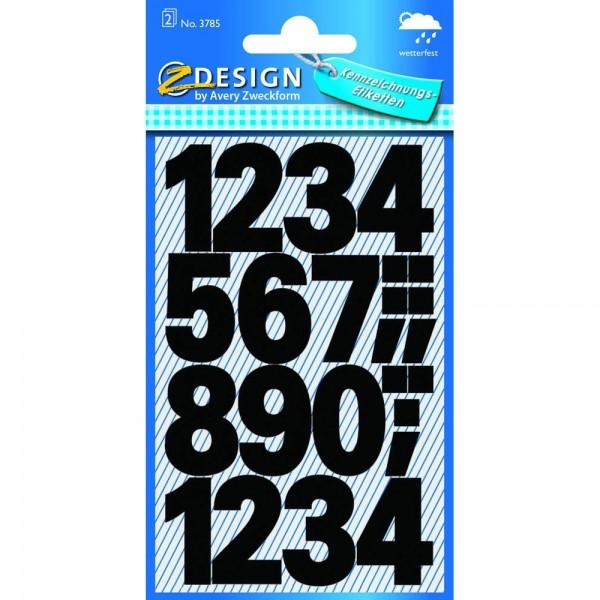 Avery Zweckform 3785 Klebenummern verschiedene Zahlen ca. 25 mm schwarz (2 Bögen a 24 Stück)