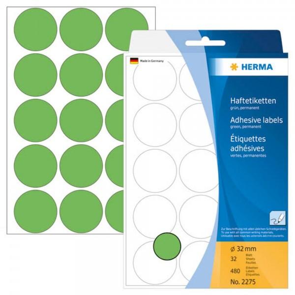 Herma 2275 Klebepunkte 32 mm grün (32 Bögen a 15 Stück)