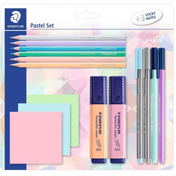 Staedtler Schreibset mit 3 Haftnotizblöcken in pastel (15er Pack)