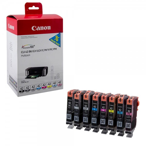 Canon CLI-42 / 6384B010 Tinten Multipack BK/C/M/Y/PC/PM/GY/LGY (8er Set)