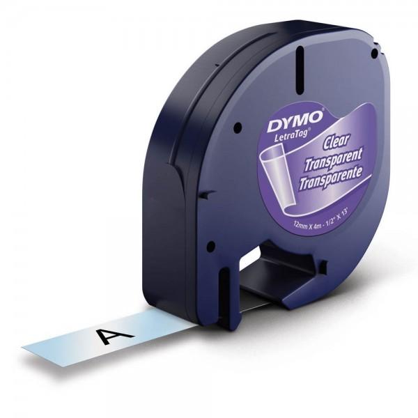 Dymo LetraTag Beschriftungsband 16951 geeignet für LT-100H / LT-100T (Schwarz auf Transparent)