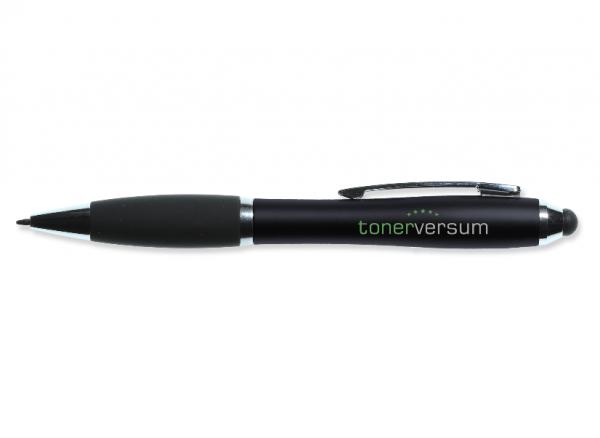 Kugelschreiber (Metall-Clip, Touch-Pen, gummierte Griffzone, Tonerversum Logo) Schwarz