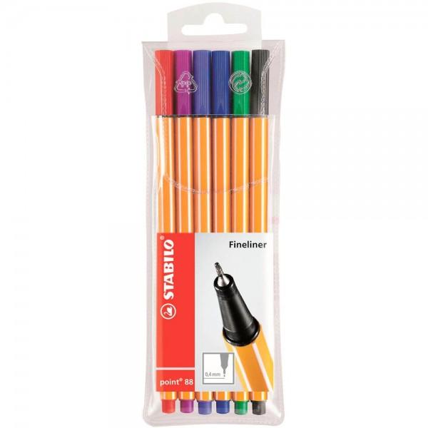 Stabilo point 88 Fineliner farbsortiert (6er Pack)