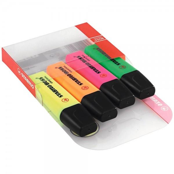 Stabilo Boss Textmarker Gelb, Orange, Grün, Pink (4er Set)