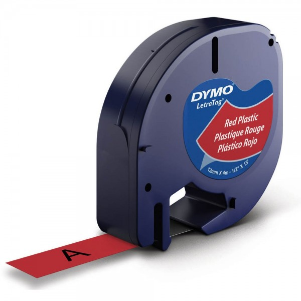 Dymo LetraTag Beschriftungsband 91223 geeignet für LT-100H / LT-100T (Schwarz auf Rot)