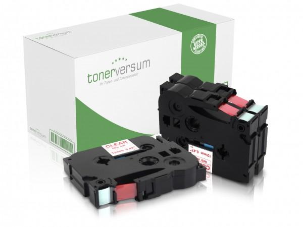 Alternativ zu Brother TZe-132 P-Touch Schriftband 12mm rot/transparent (3er Pack)
