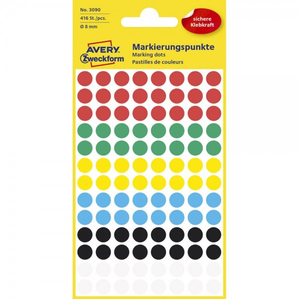 Avery Zweckform 3090 Klebepunkte mini 8 mm mehrfarbig (4 Bögen a 104 Stück)