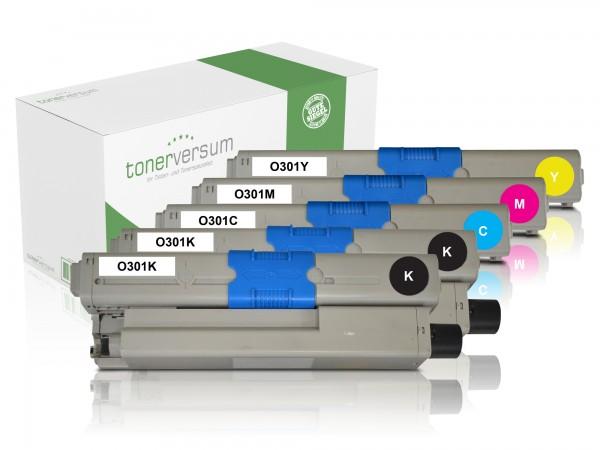 Alternativ zu OKI C301 / 44973533 44973534 44973535 44973536 Toner Multipack CMYK (5er Set)