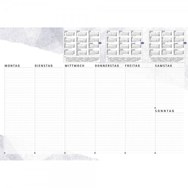 Schreibtischunterlage Weiss / Blau, 3 Jahres Übersicht 40 Blatt (60x42cm)