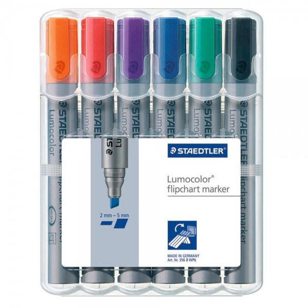 Staedtler Lumocolor Flipchart-Marker-Set farbsortiert 2,0 - 5,0 mm (6er Pack)