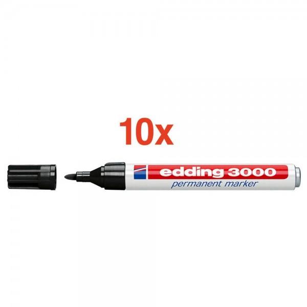 Edding 3000 Permanentmarker Schwarz / Rundspitze 1,5 - 3,0 mm (10er Pack)