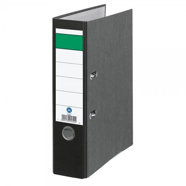Ordner DIN A4 grüner Balken breit Rückenbreite 8,0 cm schwarz / wolkenmarmor
