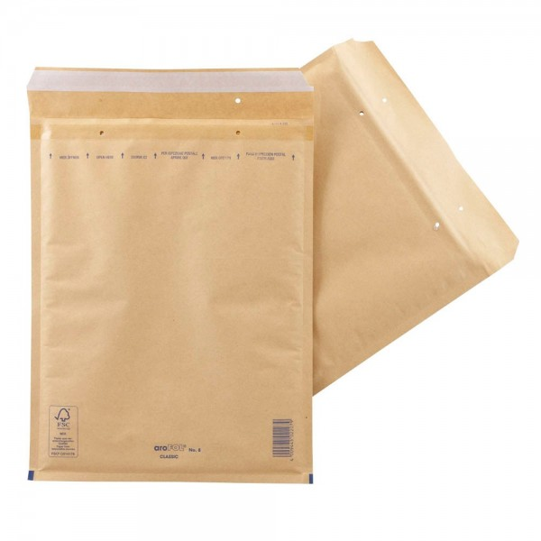 aroFol Classic Luftpolsterversandtasche blickdicht, Kraftpapier DIN-C4 braun (100er Pack)