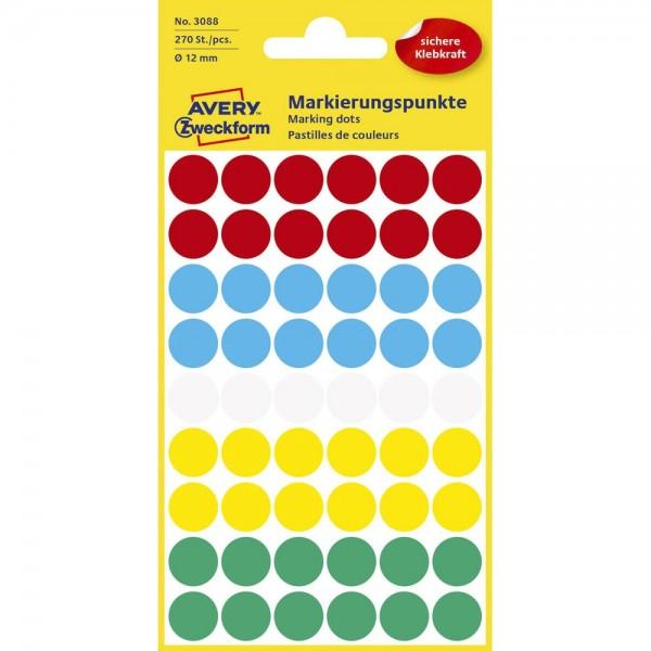 Avery Zweckform 3088 Klebepunkte 12 mm mehrfarbig (5 Bögen a 54 Stück)
