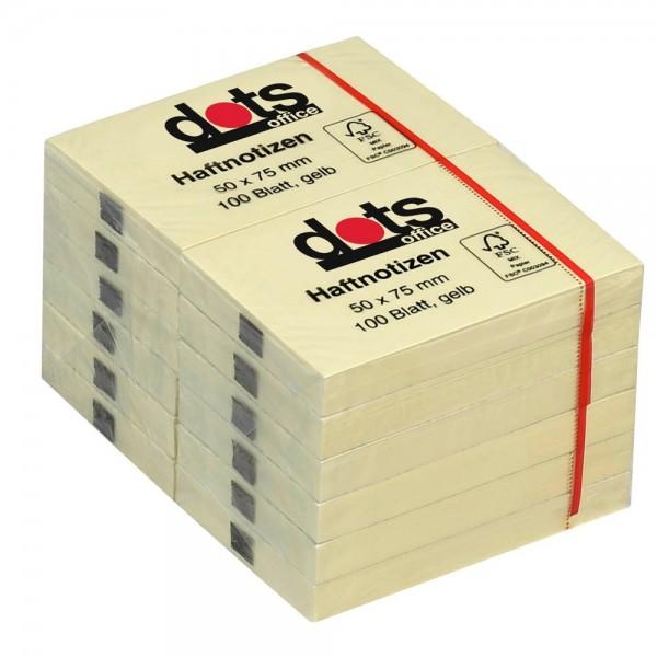 dots Haftnotiz 50x75mm gelb (12er Pack)