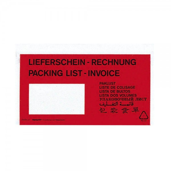 VP Lieferschein-/ Rechnungstasche DIN lang selbstklebend - 250 Stk.