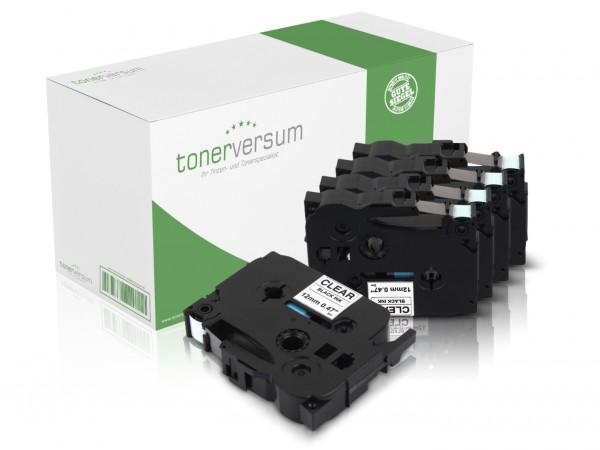 Alternativ zu Brother TZe-131 P-Touch Schriftband 12mm schwarz/transparent (5er Pack)