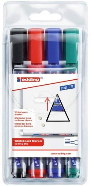 Edding 363 Whiteboardmarker Schwarz, Blau, Grün, Rot Keilspitze 1,0-5,0 mm (4er Set)