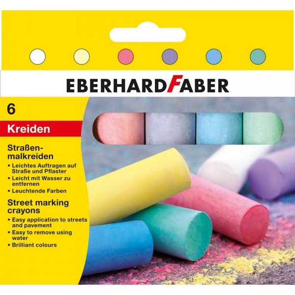 Eberhard Faber Straßenmalkreide farbsortiert (6 Stück / 14 cm lang)