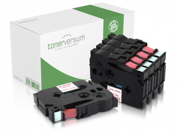 Alternativ zu Brother TZe-132 P-Touch Schriftband 12mm rot/transparent (5er Pack)